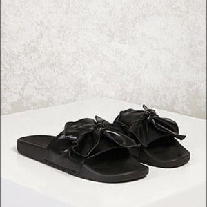 Forever 21 Black Leather Bow Slides